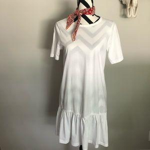 ASOS✨white ruffle t shirt dress